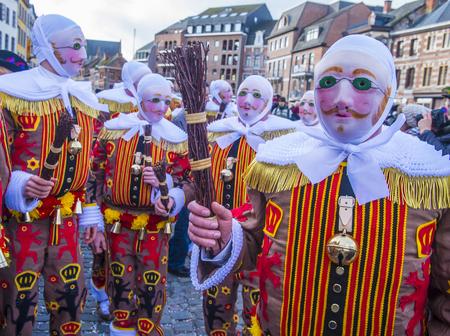 BINCHE , BELGIUM - FEB 26 : Participant in the Binche Carnival in Binche, Belgium on February 26 2017.