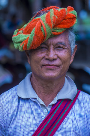 INLE LAKE , MYANMAR - SEP 07 : Portrait of Pao tribe man in Shan state Myanmar on September 07 2017   Pao is the seventh largest ethnic nationality in Myanmar