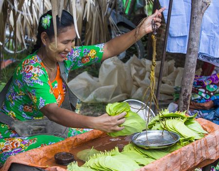 SHAN STATE , MYANMAR - SEP 06 : Burmese woman selling betel leaf in a market in Shan state Myanmar on September 06 2017 , in Myanmar people chewing the leaf with areca nut. Editorial
