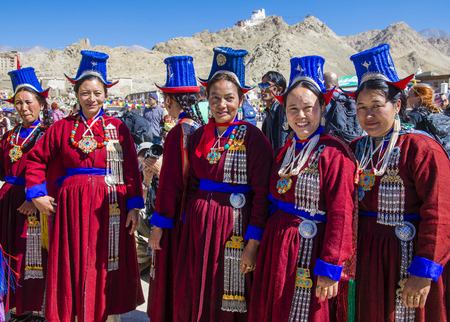 LEH, INDIA - SEPTEMBER 20, 2017: Unidentified Ladakhi people with traditional costumes  participates in the Ladakh Festival in Leh India on September 20, 2017