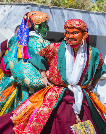 LEH, INDIA - SEP 21 , 2017 : Buddhist monks performing Cham dance during the Ladakh Festival in Leh India on September 20, 2017 Editorial