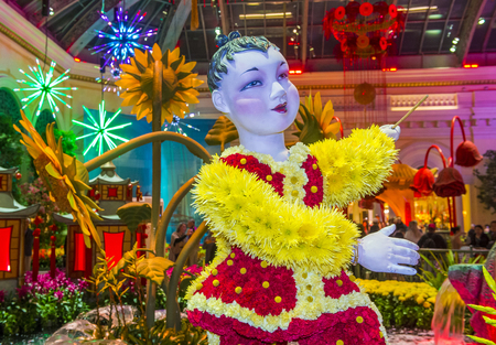 chinese astrology: LAS VEGAS - JAN 08 : Chinese New year in Bellagio Hotel Conservatory & Botanical Gardens on January 08 2017 in Las Vegas. There are five seasonal themes that the Conservatory undergoes each year.