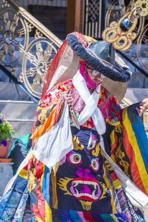 LEH, INDIA - SEP 21 , 2017 : Buddhist monk performing Cham dance during the Ladakh Festival in Leh India on September 20, 2017