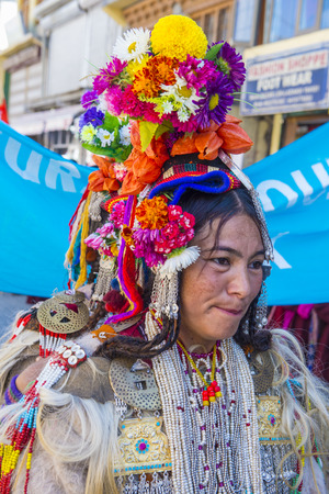 LEH, INDIA - SEPTEMBER 20, 2017: Unidentified Ladakhi woman with traditional costumes  participates in the Ladakh Festival in Leh India on September 20, 2017