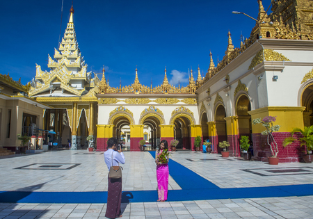 sep: MANDALAY , MYANMAR - SEP 02 : Mahamuni Pagoda in Mandalay, Myanmar on September 02 2017. Mahamuni is a Buddhist temple and major pilgrimage site, located southwest of Mandalay Editorial