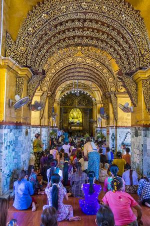 MANDALAY, MYANMAR - SEP 02 : Interior of Mahamuni Pagoda in Mandalay, Myanmar on September 02 2017. Mahamuni is a Buddhist temple located southwest of Mandalay