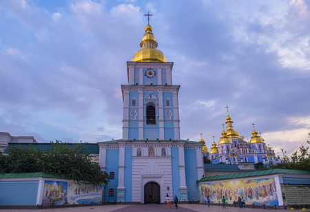 KIEV , UKRAINE - JUNE 05 : The St. Michaels Golden-Domed Monastery in Kiev Ukraine on June 05 2017. The original cathedral was demolished by the Soviet authorities in the 1930s