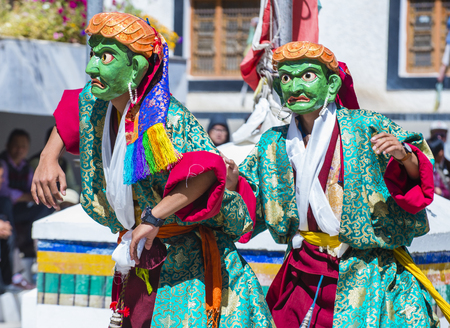 sep: LEH, INDIA - SEP 21 , 2017 : Buddhist monks performing Cham dance during the Ladakh Festival in Leh India on September 20, 2017 Editorial