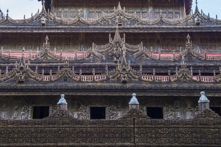 MANDALAY , MYANMAR - SEP 02 : Shwenandaw Monastery in Mandalay, Myanmar on September 02 2017 , Shwenandaw Monastery is a historic Buddhist monastery located near Mandalay Hill Editorial
