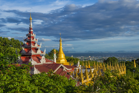 MANDALAY, MYANMAR - SEP 03 : A panoramic view of Mandalay from the top of Mandalay Hill in Myanmar on September 03 2017 , Mandalay Hill is a major pilgrimage site. Editorial