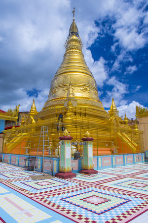 SAGAING , MYANMAR - SEP 03 : Sagaing hill Pagoda in Myanmar on September 03 2017 , Sagaing hill Pagoda is a Buddhist temple and major pilgrimage site 20 km to the south-west of Mandalay Editorial