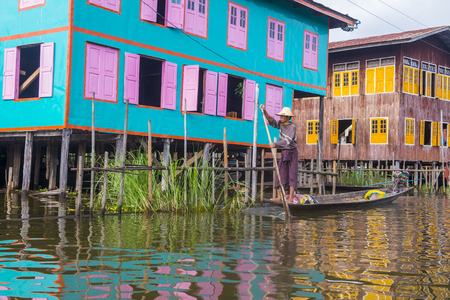 INLE LAKE , MYANMAR - SEP 07 : Traditional wooden stilt houses in Inle lake Myanmar on September 07 2017 , inle Lake is a freshwater lake located in Shan state Editorial
