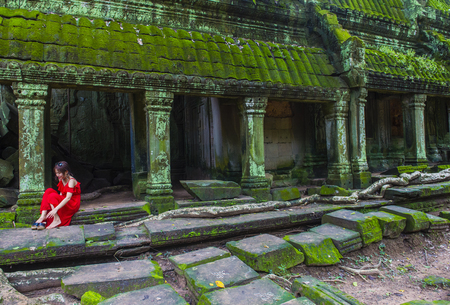 SIEM REAP , CAMBODIA - OCT 15 :  The Ta Prohm temple in Angkor Thom, Siem Reap Cambodia on October 15 2017 , Angkor Thom was the last and capital city of the Khmer empire.