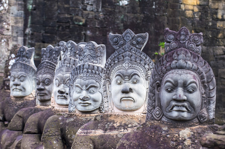 SIEM REAP , CAMBODIA - OCT 15 : Statues at the South Gate of Angkor Thom, Siem Reap Cambodia on October 15 2017 , Angkor Thom was the last and capital city of the Khmer empire. Editorial