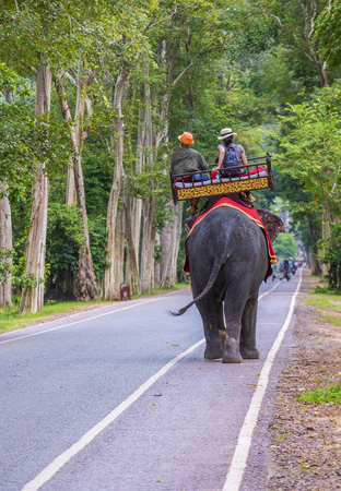 SIEM REAP , CAMBODIA - OCT 15 : Tourists riding an Elephant at the Angkor Thom in Siem Reap Cambodia on October 15 2017 , Angkor Thom was the last and capital city of the Khmer empire. Banque d'images - 104746577
