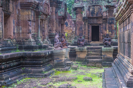 SIEM REAP , CAMBODIA - OCT 17 : The Banteay Srei Temple near Siem Reap Cambodia on October 17 2017 , Banteay Srey is a 10th-century temple dedicated to the Hindu god Shiva