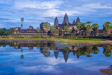 SIEM REAP , CAMBODIA - OCT 17 : The Angkor Wat Temple in Siem Reap Cambodia on October 17 2017 , The Angkor Wat is an UNESCO World Herutage site since 1992