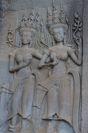 SIEM REAP , CAMBODIA - OCT 17 : Ditails at the Angkor Wat Temple in Siem Reap Cambodia on October 17 2017 , The Angkor Wat is an UNESCO World Herutage site since 1992