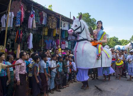 BAGAN , MYANMAR - SEP 04 2017: Participants in a local village festival in a village near bagan Myanmar on September 04 2017.