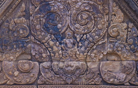 SIEM REAP , CAMBODIA - OCT 17 : Details at the Banteay Srei Temple near Siem Reap Cambodia on October 17 2017 , Banteay Srey is a 10th-century temple dedicated to the Hindu god Shiva Redakční