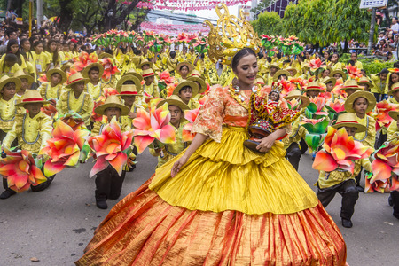 CEBU CITY , PHILIPPINES - JAN 21 : Participants in the Sinulog festival in Cebu city Philippines on January 21 2018. The Sinulog is the centre of the Santo Niño Catholic celebrations in the Philippines.