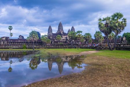 SIEM REAP, CAMBOGIA - 17 OTTOBRE: Il tempio di Angkor Wat a Siem Reap Cambogia il 17 ottobre 2017, Angkor Wat è un sito patrimonio mondiale dell'UNESCO dal 1992
