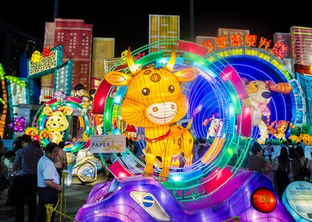 SINGAPORE - FEB 21 : The Year of the Dog Celebration lanterns at River Hongbao in Singapore on Februery 21 2018. The event is held anualy at The Marina Bay to welcome Lunar New Year. 写真素材 - 132500700