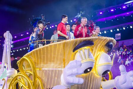 SINGAPORE - FEB 24 : Singapore Prime Minister Lee Hsien Loong in a float procession during the Chingay parade in Singapore on February 24 2018.