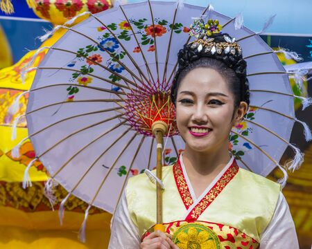 SEOUL - MAY 11 : Portrait of a Burmese traditional dancer during Lotus Lantern Festival in Seoul , Korea on May 11 2018  The festival is a celebration of the birth of Buddha