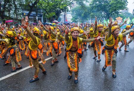 CEBU CITY , PHILIPPINES - JAN 20 : Participants in the Sinulog festival in Cebu city Philippines on January 20 2019. The Sinulog is an annual religious celebrations in the Philippines. Publikacyjne