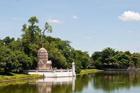 spiritualist: Ho Hem Monthian Thewarat (Golden Palace of The God King) at Ayutthaya province, Thailand. Stock Photo