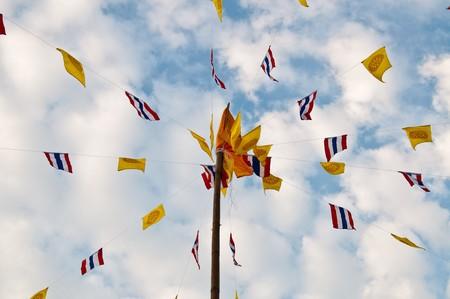 Buddhist  flag with pole, Thailand. Stock Photo - 8200829
