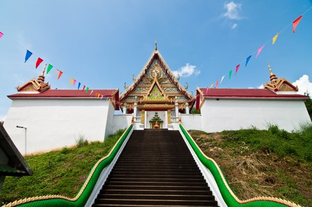 Stair up to church at Wat Kaolam temple, Thailand. Stock Photo