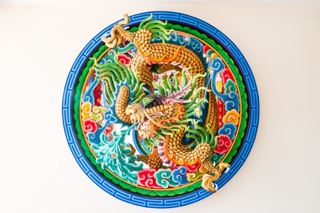 Dragon molding art on the wall, Thailand. Stock Photo
