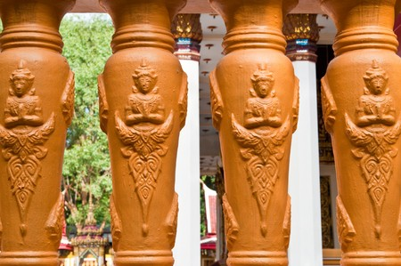 balustrades: Thai style balustrades at temple, Thailand.