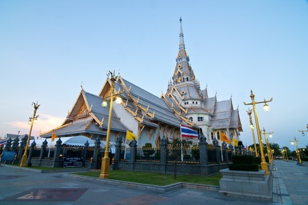 Sothorn temple in evening light at Chachoengsao province, Thailand. Stock Photo
