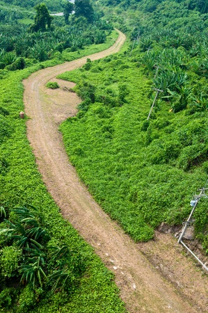 Bird eye view of country road on mountain, Thailand.