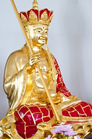 Golden Chinese god in Guan Im pavilion, Thailand.