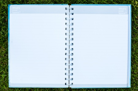 Blue notebook on green field at public park. photo