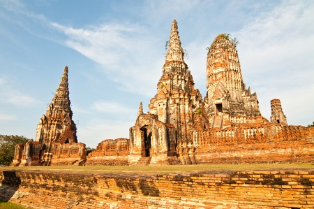 Landscape of ancient city with blue sky, Chaiwattanaram temple, Thailand. Stock Photo