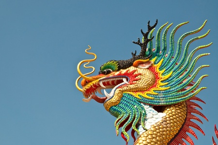 Head shot of colorful dragon statue with blue sky at public park, Thailand. Stock Photo