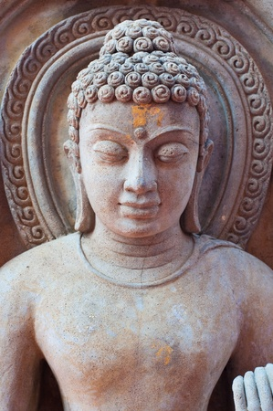 Head shot of buddha statue, Thailand. Stock Photo