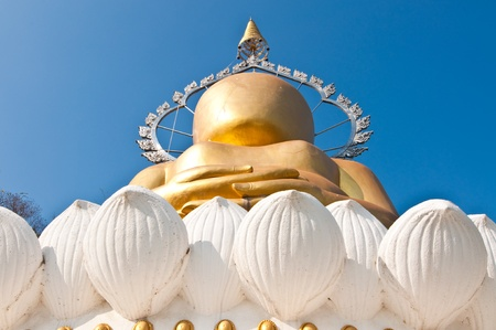 The golden buddha has not eyes at temple, Thailand. Stock Photo - 8601701