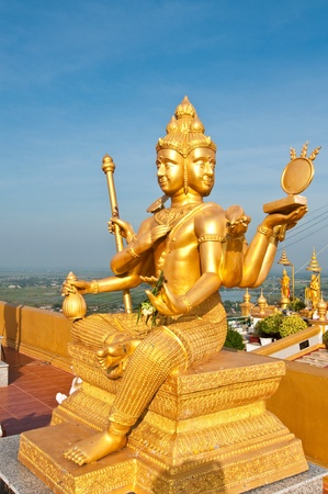 Beautiful golden Brahma statue, Thailand. Stock Photo