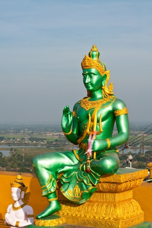 Indra statue with blue sky, Thailand.