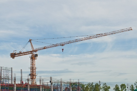 Tower crane with scaffolding, Thailand. photo