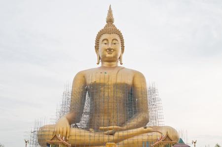 Renovation of big buddha statue at Wat Muang, Thailand. Stock Photo - 9743338