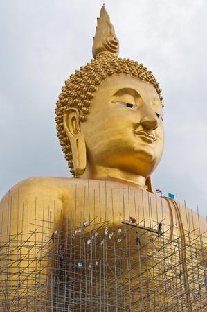 Renovation of big buddha statue at Wat Muang, Thailand. Stock Photo - 10023254