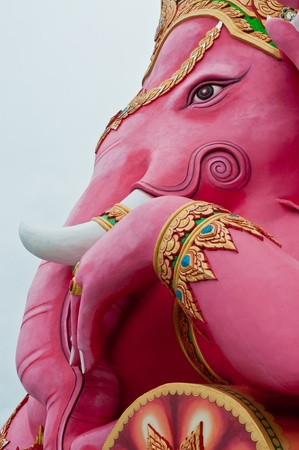 Pink ganesha statue at the temple, Thailand.