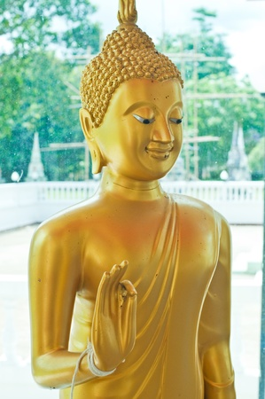 Face of beautiful golden buddha statue, Angthong Province, Thailand. Stock Photo - 10023303